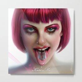 KISS ME - Pink Metal Print