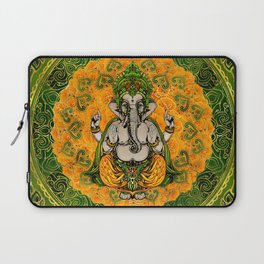 Ganesha in Marigold flowers and gold decoration Laptop Sleeve