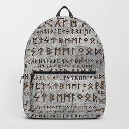 Elder Futhark Pattern on birch texture Backpack