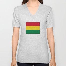 Flag of bolivia-bolivian,spanish,america,south america,latin america,coffee,Santa cruz,Sucre,La paz Unisex V-Neck