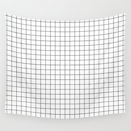 Black and White Thin Grid Graph Wall Tapestry