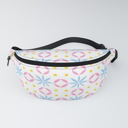 geometric flower 36 blue, pink and yellow Fanny Pack