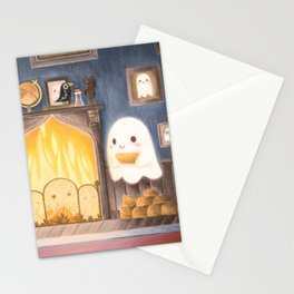 Little ghost making fire Stationery Cards