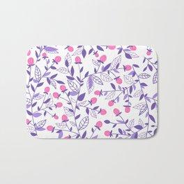 Floral doodles pink and violet Bath Mat