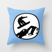 snowboarding Throw Pillows featuring snowboarding 1 by Paul Simms