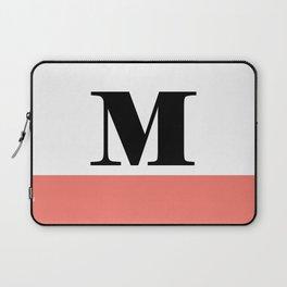 Monogram Letter M-Pantone-Peach Echo Laptop Sleeve