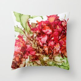 Alcohol Ink Cactus Flower Throw Pillow