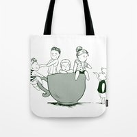 1d Tote Bags featuring Teaucp 1D by allthreeplease2