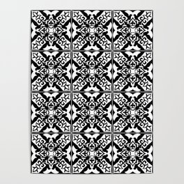 Moroccan Tile Pattern in Black and White Poster