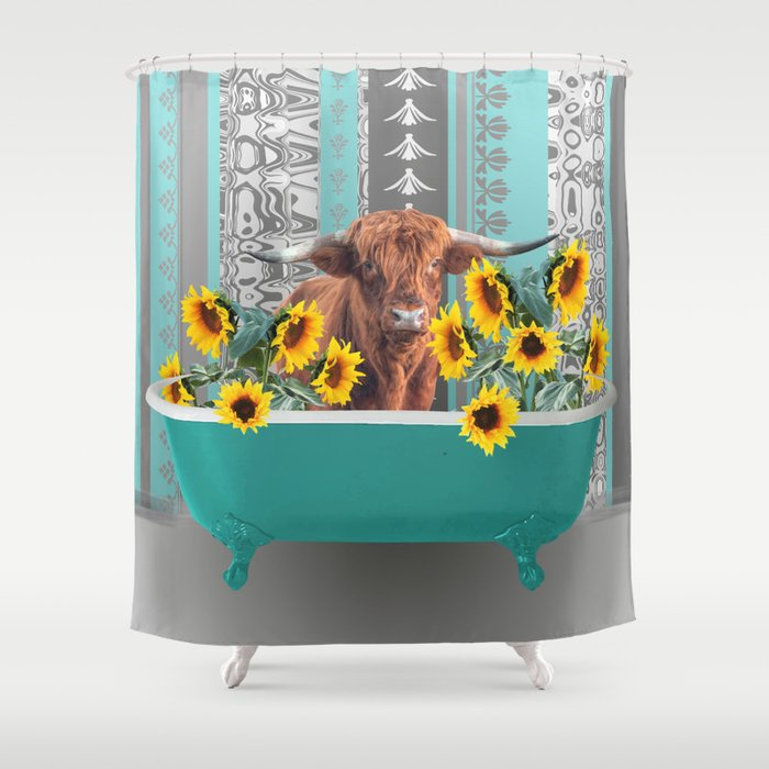bathtub with Highland cow and sunflowers Shower Curtain
