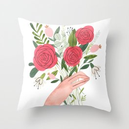 Hand bouquet Throw Pillow