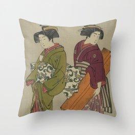 Kitao Shigemasa (1777) Geisha and a servant carrying her shamisen box Throw Pillow