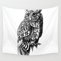 bioworkz Wall Tapestries featuring Owl 2.0 by BIOWORKZ