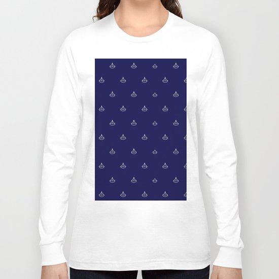 Maritime pattern- little white boats on darkblue backround Long Sleeve T-shirt