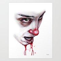 lip Art Prints featuring Split Lip by Dylan Chudzynski