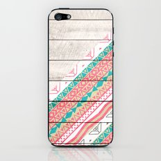 Andes Tribal Aztec Coral Teal Chevron Wood Pattern iPhone & iPod Skin