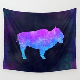 BUFFALO IN SPACE // Animal Graphic Art // Watercolor Canvas Painting // Modern Minimal Cute Wall Tapestry