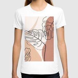 Abstract Monstera Line Art T-shirt