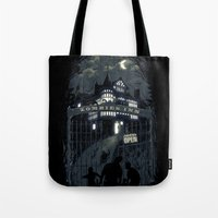 zombies Tote Bags featuring Zombies Inn by nicebleed