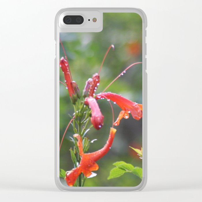 Rain drops and Flower Clear iPhone Case