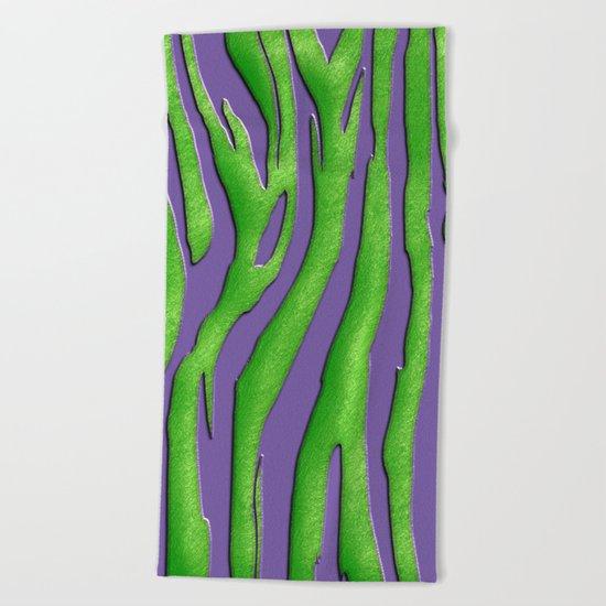 Bright Purple & Green Zebra Print Beach Towel