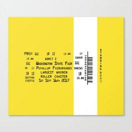 Ticket Stub Largest Wooden Roller Coaster Canvas Print