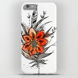 Bronze flower Feather iPhone Case