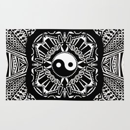 Black And White Yin And Yang Rug