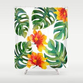 Monstera And Hibiscus Shower Curtain