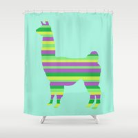 llama Shower Curtains featuring Llama Stripes by Whimsy Notions Designs