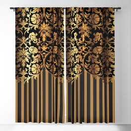 Gold and Black Damask and Stripe Design Blackout Curtain