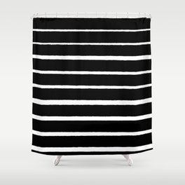 Rough White Thin Stripes on Black Shower Curtain