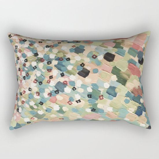 SWEPT AWAY 4 - Lovely Shabby Chic Soft Pink Ocean Waves Mermaid Splash Abstract Acrylic Painting Rectangular Pillow