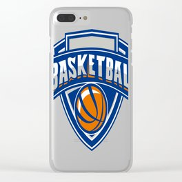 Basketball Ball Shield Text Retro Clear iPhone Case