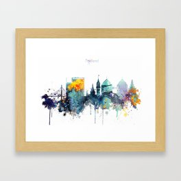 Oakland California Blue  skyline print Framed Art Print