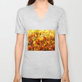 Watercolor Abstract Autumn  Unisex V-Neck