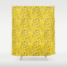 Yellow Flora Shower Curtain