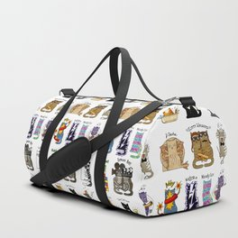Science cats. History of great discoveries. Schrödinger cat, Tesla, Einstein. Physics, chemistry etc Duffle Bag