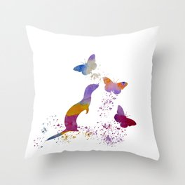 Ferret and butterflies Throw Pillow