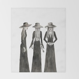 Coven Watercolor Witch Trio Throw Blanket