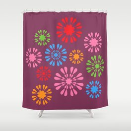 Colorful snowflake flowers on burgundy Shower Curtain