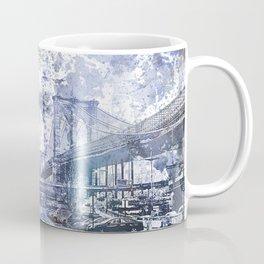 Brooklyn Bridge New York USA Watercolor blue Illustration Coffee Mug