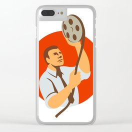 Film Editor Looking at Reel Retro Clear iPhone Case