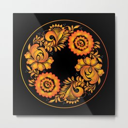 Floral khokhloma folk Metal Print