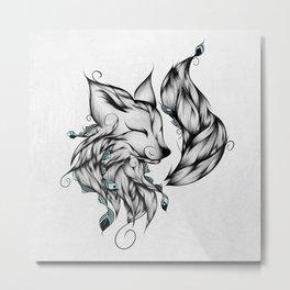 Fox B&W Metal Print