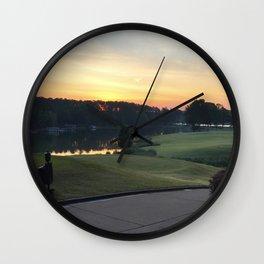 Golfing the Lake Wall Clock