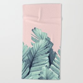 Blush Banana Leaves Dream #5 #tropical #decor #art #society6 Beach Towel