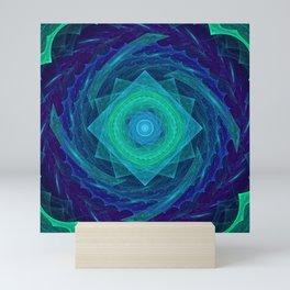 Sinusoidal Sawblade Mandala in Blue-Green Colors Mini Art Print