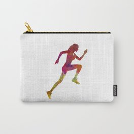 Woman runner running jogger jogging silhouette 02 Carry-All Pouch