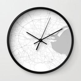 White on Light Grey Dublin Street Map Wall Clock